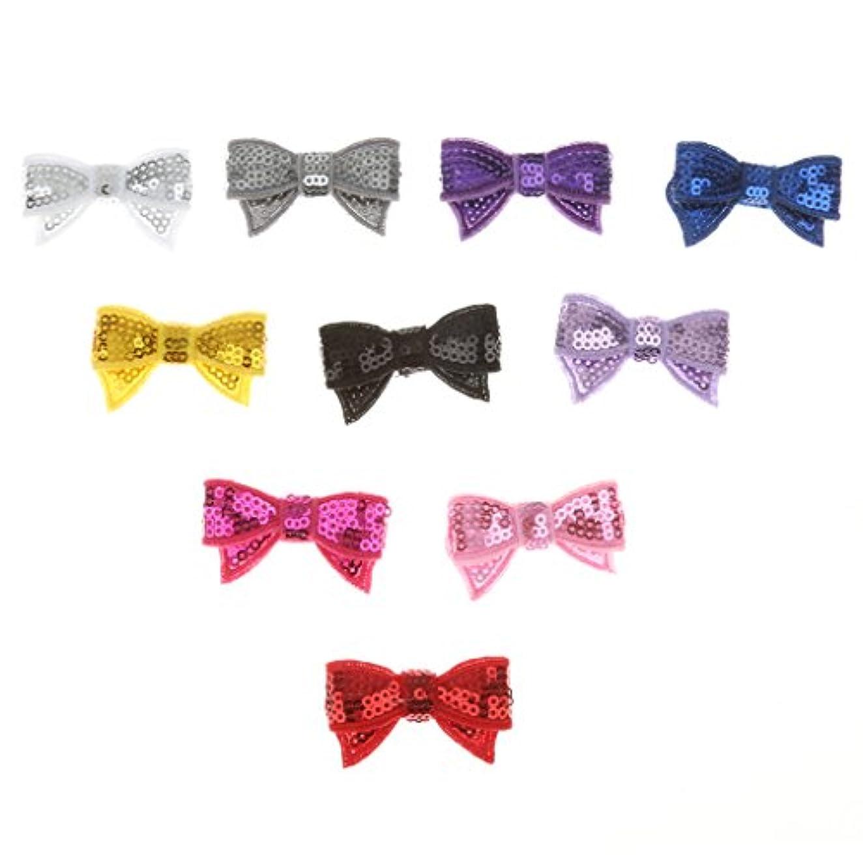 分散免疫もつれLovoski 蝶 ネクタイ DIY ヘアバッド キラキラ 子供の髪 パーティー飾り 10個入り 全3色選べ - スパンコール