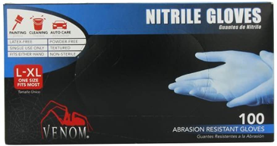 データ切り離すトラブルMedline Venom Powder-Free Nitrile Multi-Purpose Disposable Gloves One-Size 100 Count [並行輸入品]