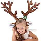 SSUNINESS Christmas Reindeer Antlers Headband - Kid Headwear for Holiday Party or Rudolph Santa Costumes Accessory