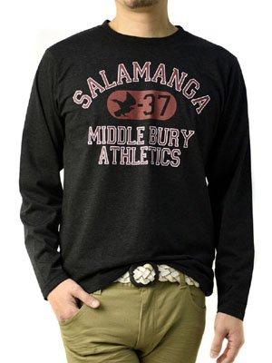 (フラグオンクルー) FLAG ON CREW メンズ プリント ロンT アメカジ 長袖 Tシャツ / D2V / M B柄杢ブラック