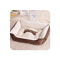小さい中型の大きいペット犬のバスケットのベッドのための完全な綿犬のベッドのソファーのラウンジャーの猫の家プロダクト の子犬の暖かい犬小屋のマット、茶色、S