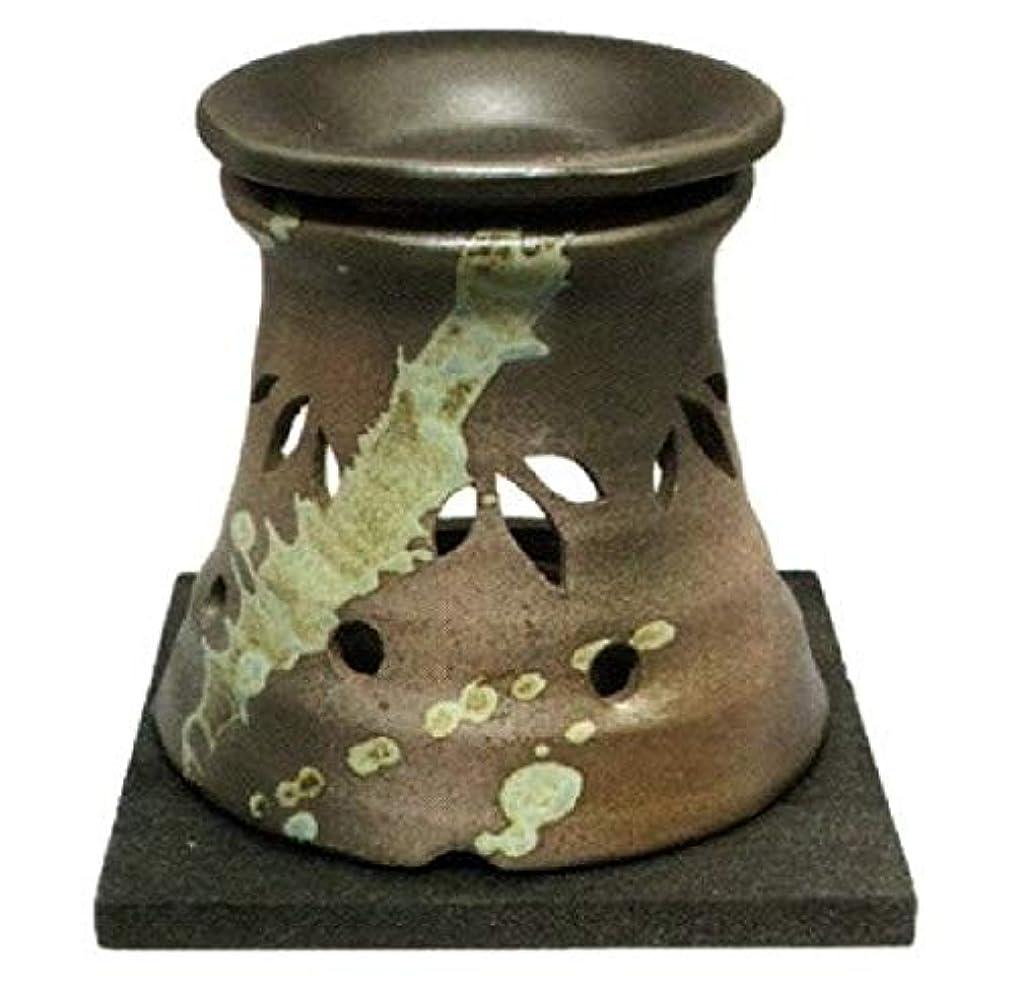 ラグ発動機接続された常滑焼?山房窯 カ40-07 茶香炉 杉板付 約φ11.5×11.8cm