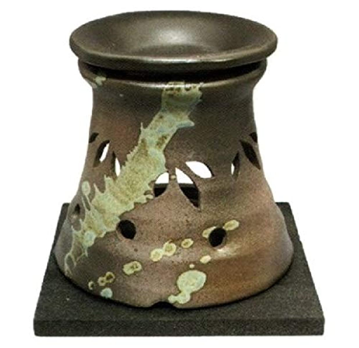 かび臭いケーキ全部常滑焼?山房窯 カ40-07 茶香炉 杉板付 約φ11.5×11.8cm