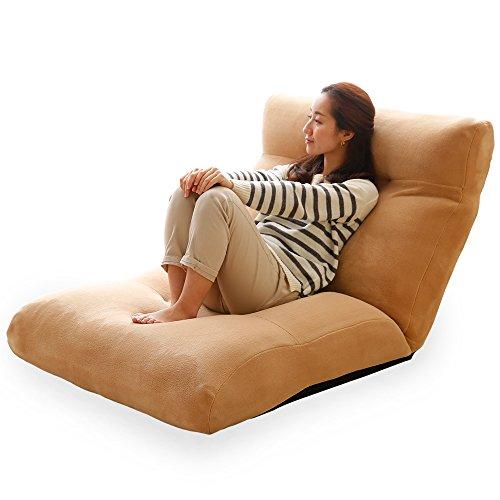 LOWYA (ロウヤ) 座椅子 特大サイズ 1人用ソファ リクライニング 可動 ヘッドレスト ワイド座面 ポケットコイル ベージュ おしゃれ