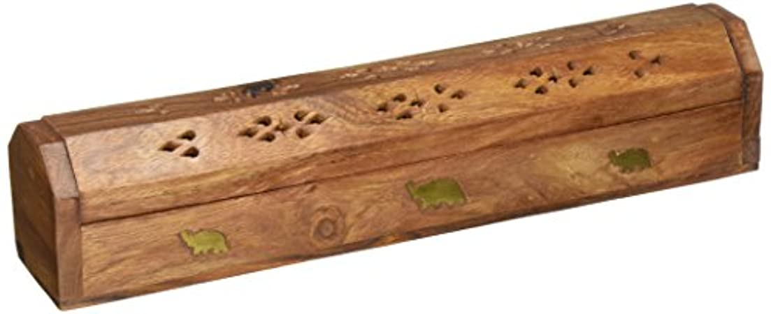 のため腸キャラバン(30cm x 5.1cm ) - Rusticity Wood Incense Box Handmade