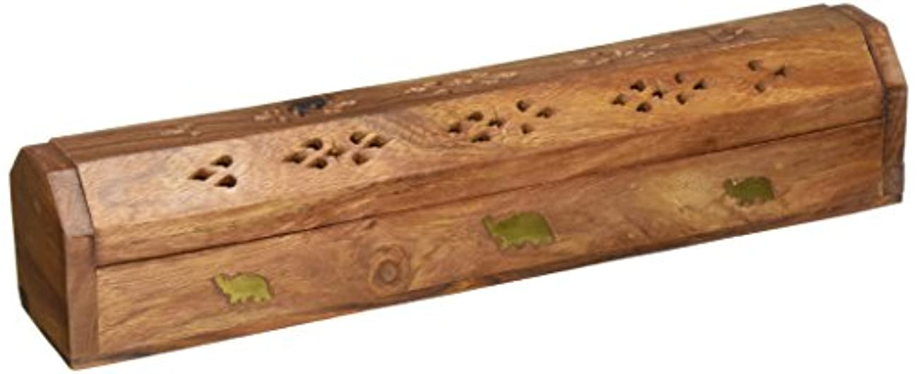 火傷ゴム田舎者(30cm x 5.1cm ) - Rusticity Wood Incense Box Handmade