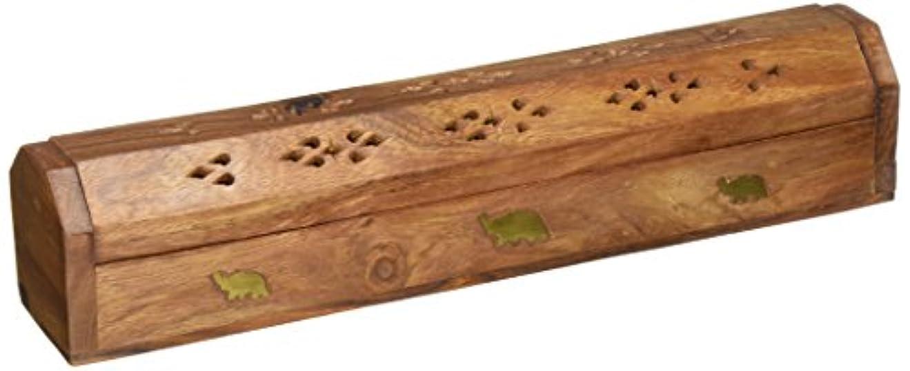 サミュエル承認するリーフレット(30cm x 5.1cm ) - Rusticity Wood Incense Box Handmade