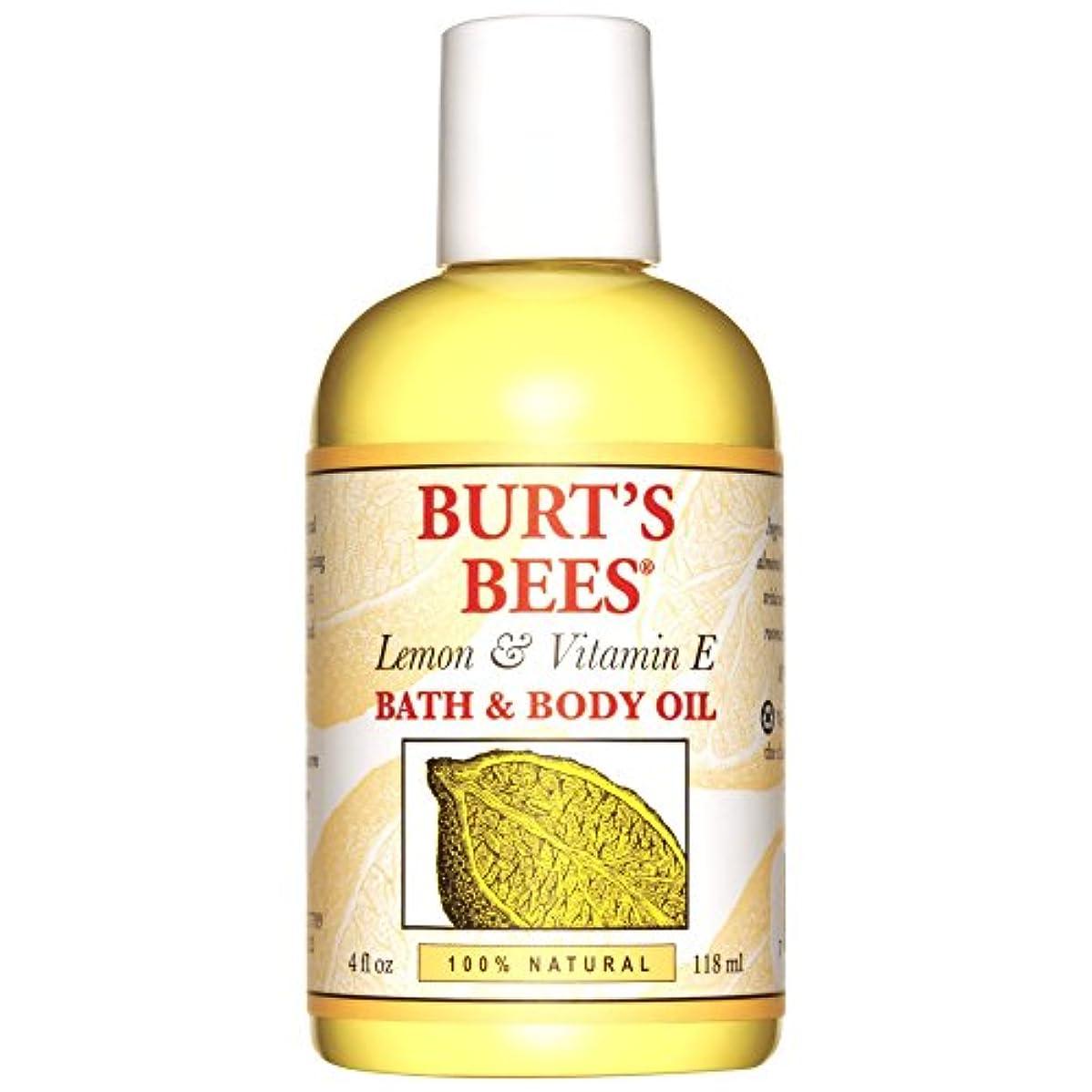 黙認する新聞伸ばすバーツビーレモンとビタミンEバス、ボディオイル118ミリリットル (Burt's Bees) - Burt's Bees Lemon and Vitamin E Bath and Body Oil 118ml [並行輸入品]