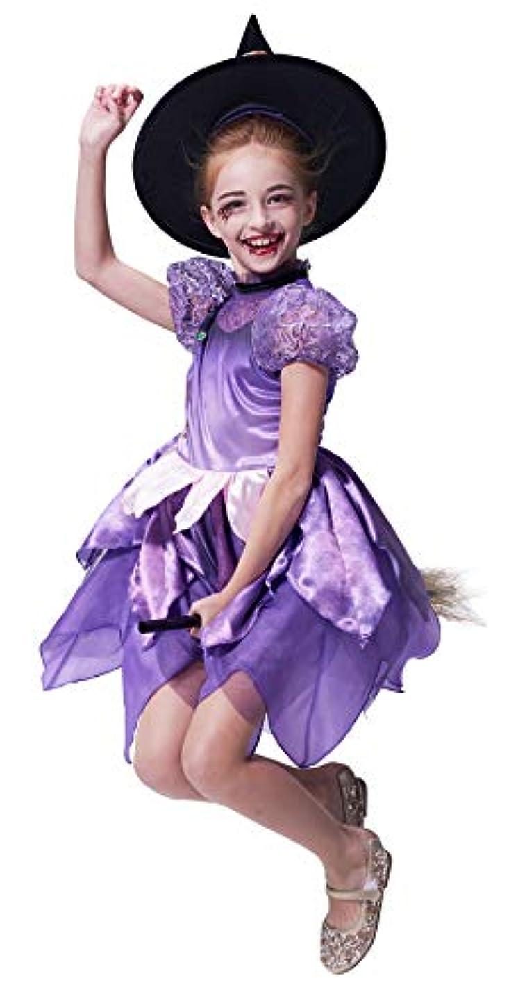検体検閲挑発する帽子をかぶった女の子の魔女の衣装、デラックスソーサレスファンシードレス、キッズ服
