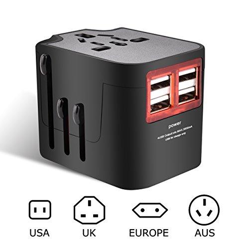 Elinker 海外旅行用マルチ変換プラグ 充電用USB4ポ...