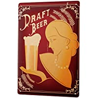Beer Tin Sign ブリキ看板 Nostalgic Decoration Lady beer glass frame Wall Plate