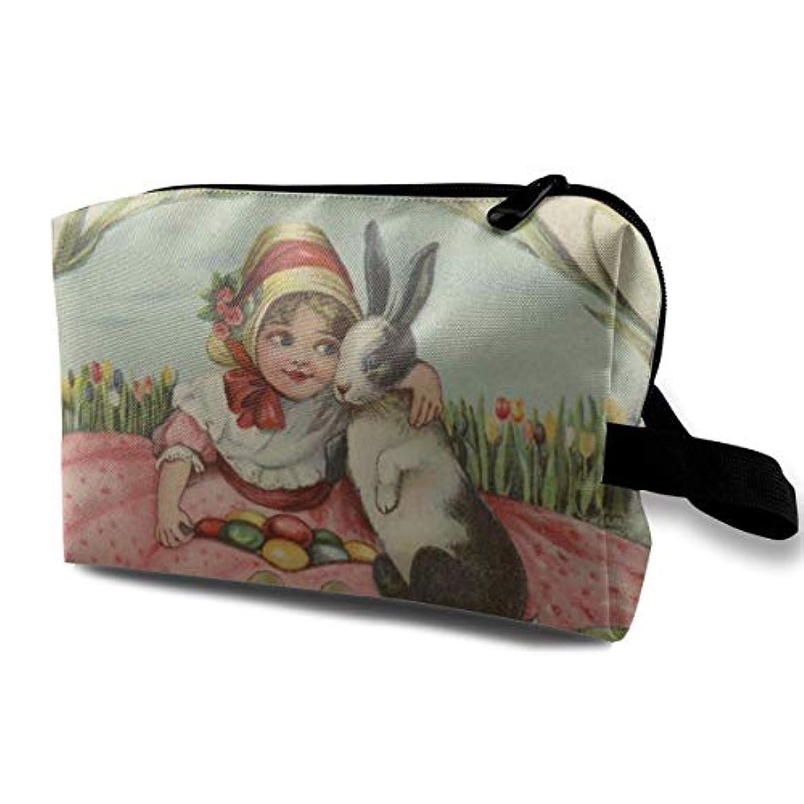 おもしろい集中的なスピーカーGirl Hug Easter Bunny Rabbit Candy Eggs Tulip 収納ポーチ 化粧ポーチ 大容量 軽量 耐久性 ハンドル付持ち運び便利。入れ 自宅?出張?旅行?アウトドア撮影などに対応。メンズ レディース トラベルグッズ