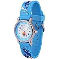 Wolfteeth Young Girls Boys Kids Children Cool Wrist Watch Time Teacher, Cartoon Character 3D Watchband 3036