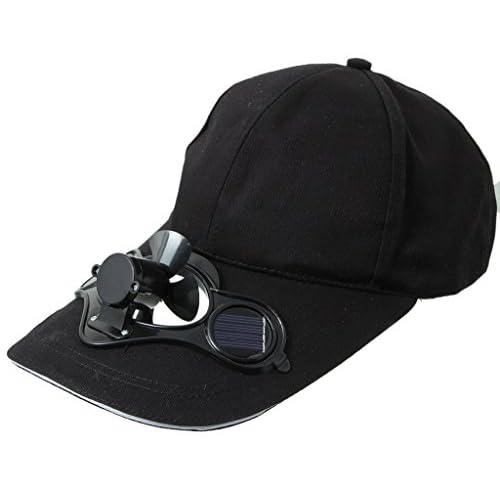 EOZY五つカラー選ばれ ゴルフ、野球に 暑い夏 スポーツ、アウトドア 太陽力で お洒落男女兼用ソーラー帽子キャップ 扇風機が付き「黒い」