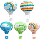 BESTOYARD 紙ちょうちん 紙提灯 ランタン 熱気球型 レインボー 虹 祭り パーティー 結婚式 七夕 誕生日 イベント 装飾 直径30cm DIY 5個セット