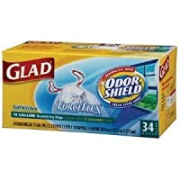 clo70320–Glad ForceFlex OdorShieldバッグ、13Gal、24x 28、ホワイト、25/ボックス