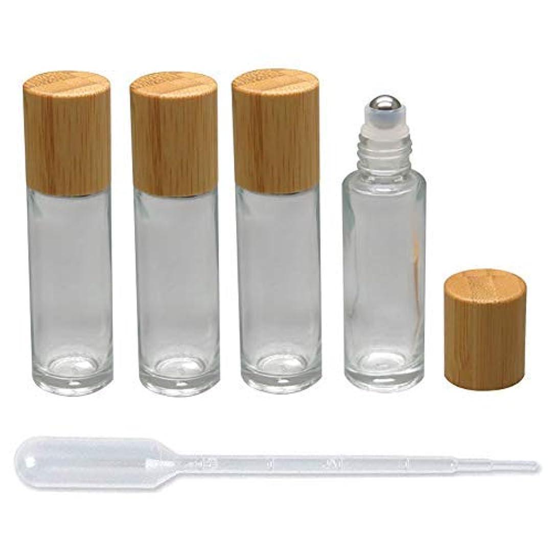落ち着いて区権利を与える4 Pieces Roll On Bottles 15ml Clear Glass Roller Bottles with Bamboo Lid Empty Refillable Essential Oil Roller...