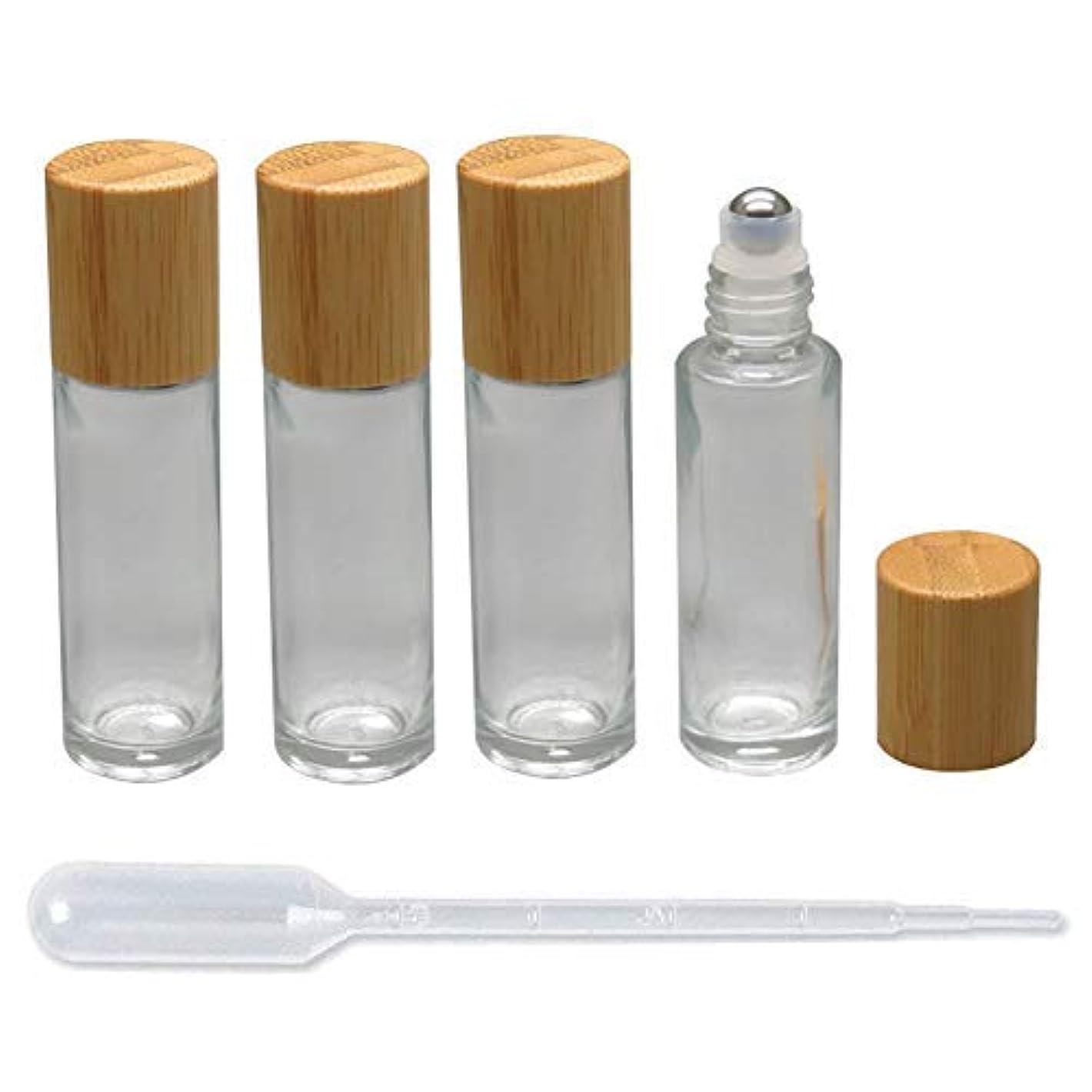 センチメンタル解釈お客様4 Pieces Roll On Bottles 15ml Clear Glass Roller Bottles with Bamboo Lid Empty Refillable Essential Oil Roller...