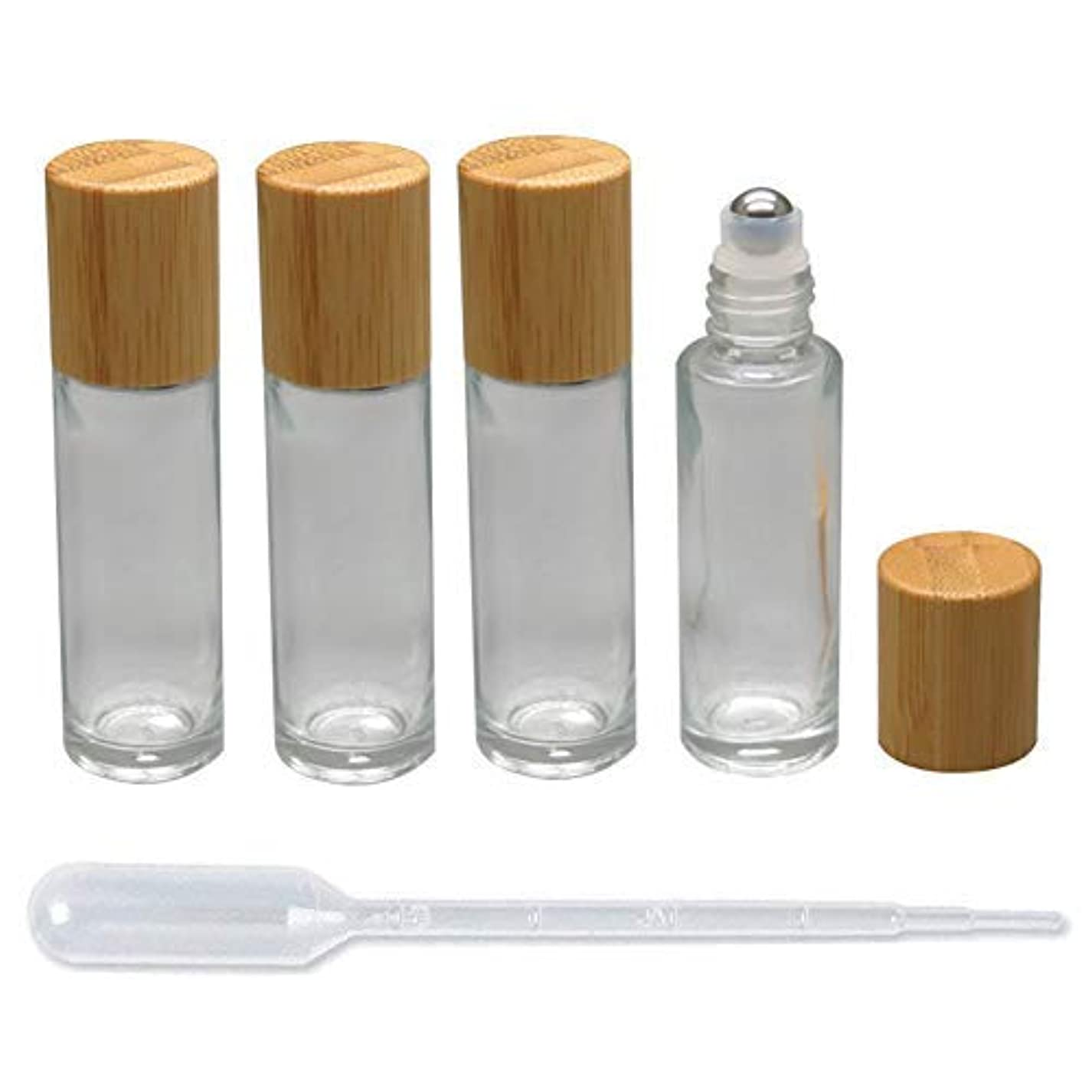 囲まれたフレキシブル緩やかな4 Pieces Roll On Bottles 15ml Clear Glass Roller Bottles with Bamboo Lid Empty Refillable Essential Oil Roller...