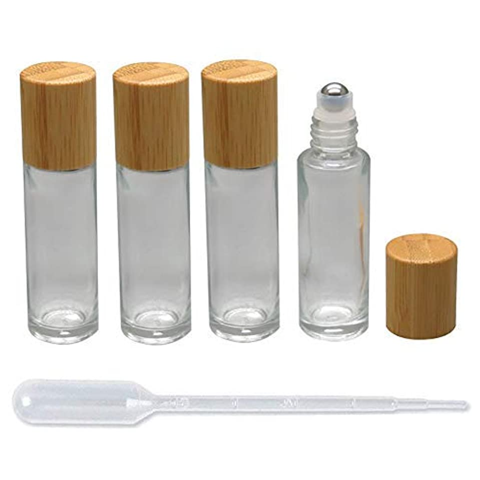 戦艦エキサイティング配偶者4 Pieces Roll On Bottles 15ml Clear Glass Roller Bottles with Bamboo Lid Empty Refillable Essential Oil Roller...