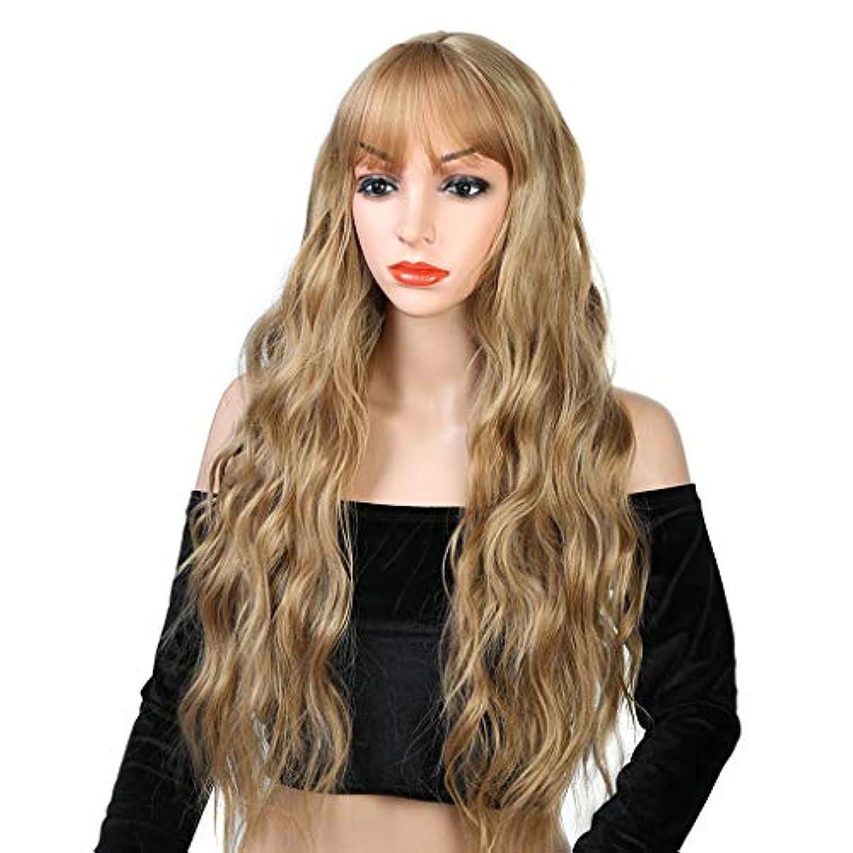 マーチャンダイジング死の顎類似性リザイ ファッションレースかつら、前髪自然波ロングカーリー耐熱合成かつらで女性ストロベリーブロンドオンブルライトブロンドのかつら26インチ