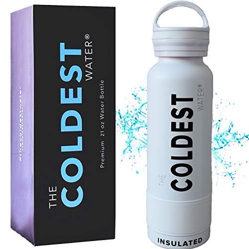ザ・コールディスト ウォーター (The Coldest Water) [ フロリダ発 全米大ヒット 36時間 氷が溶けないスポーツボトル ] 保温12時間 真空断熱水筒 キャップ式 21オンス 約620ml (白&黒 ホワイトブラック)