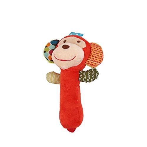 Honel 赤ちゃん おもちゃ アニマル かわいい スティックガラガラ ドンキー にぎにぎ 動物 早期教育 知能開発 音楽おもちゃ (サル)