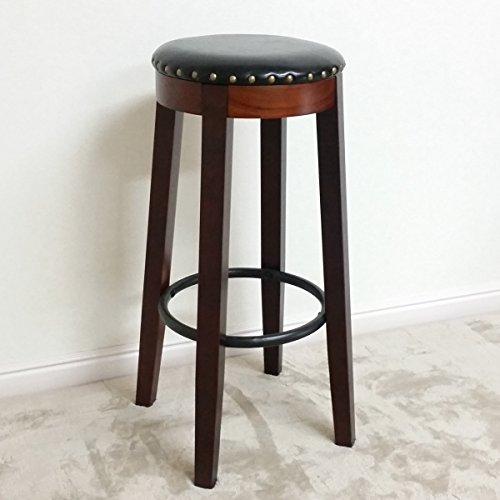 カウンタースツール 座面ブラック色【在庫処分価格】(ハイタイプ:高さ約70cm) (参考 アンティーク ハイスツール 木製 ブラック 黒色 椅子 いす イス スツール 木製スツール )