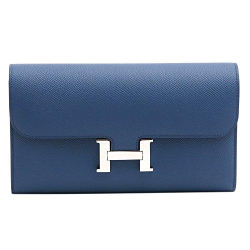 [エルメス]HERMES 長財布 2つ折り コンスタンス エプソン シルバー金具 A刻印 071006CK CONSTANCE EPSOM BLUE THALASSA