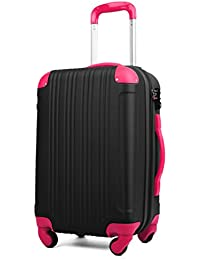 (レジェンドウォーカー) LEGEND WALKER 超軽量 Wファスナー容量アップ拡張機能付 スーツケース (17色4サイズ) おしゃれでかわいい キャリーケース スムーズな移動が可能な4輪タイプ (Mサイズ(5~7泊/61(拡張時72)L), ブラック/マゼンタ)