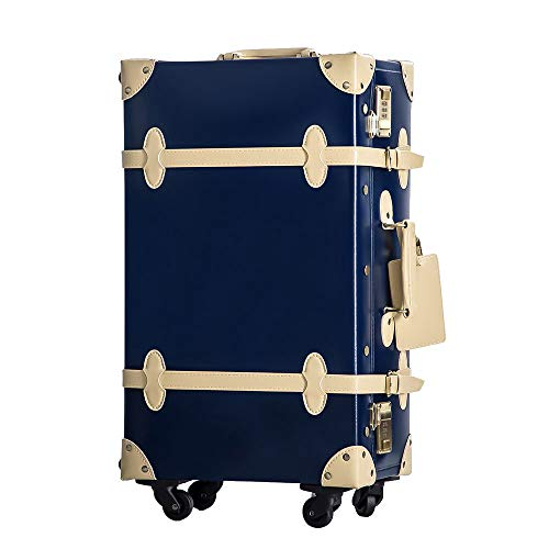 TANOBI トランクケース スーツケース キャリーバッグ SSサイズ機内持ち込み可 復古主義 おしゃれ 可愛い 13色4サイズ (ネイビー×ベージュ, Mサイズ(3-5泊))