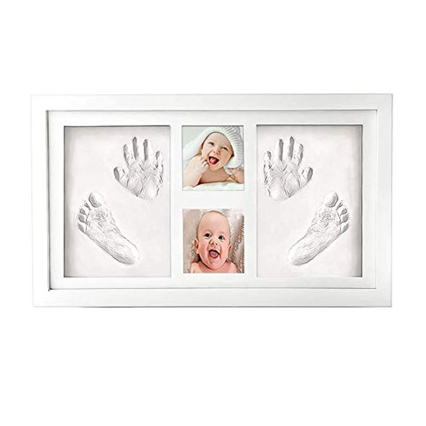 参加する記念アクロバット赤ちゃんの手形や新生児のための出産のために赤ちゃんの手と足Abdrucksetフォトフレーム赤ちゃんの贈り物特別な贈り物のフットプリント額縁ギプス,白