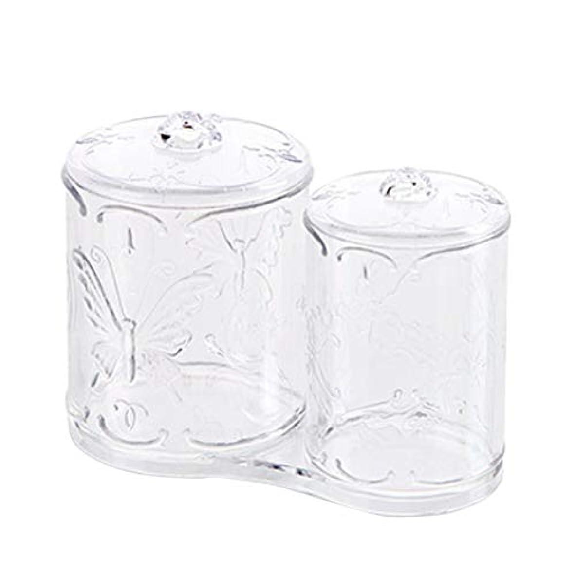 平衡高架彼のOUNONA 綿棒ケース 綿棒ボックス コスメボックス プラスチック 2in1 コットン フタ付き メイクケース パフ 小物 コスメ 化粧品 ジュエリー アクセサリー 収納 多機能 防塵 透明 卓上 浴室