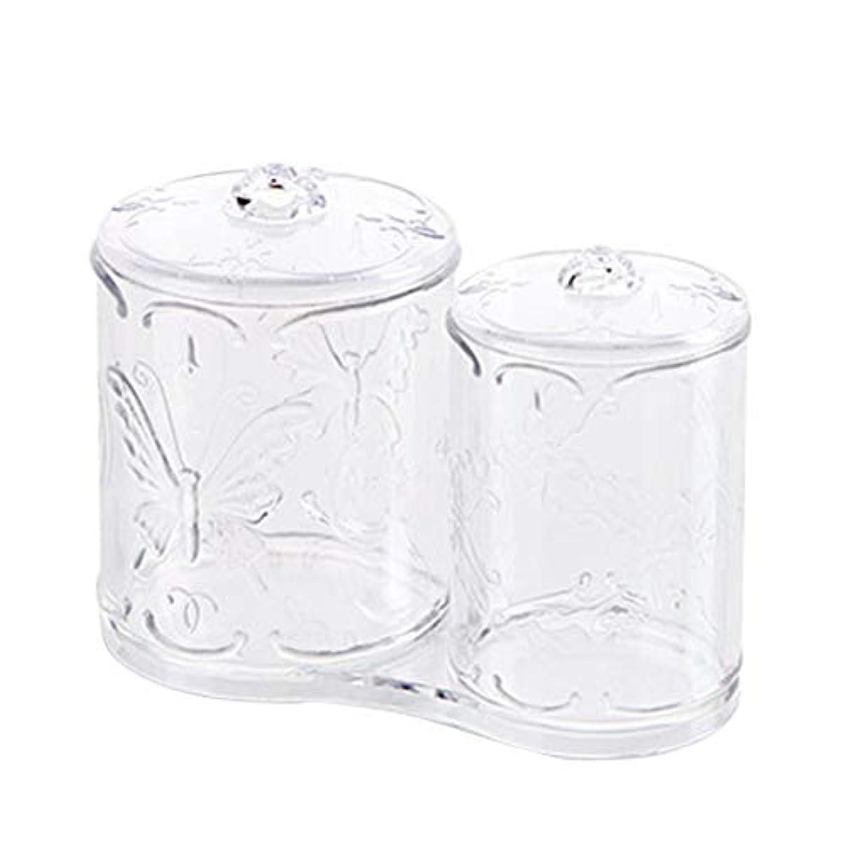 楽しませる対立知り合いになるOUNONA 綿棒ケース 綿棒ボックス コスメボックス プラスチック 2in1 コットン フタ付き メイクケース パフ 小物 コスメ 化粧品 ジュエリー アクセサリー 収納 多機能 防塵 透明 卓上 浴室