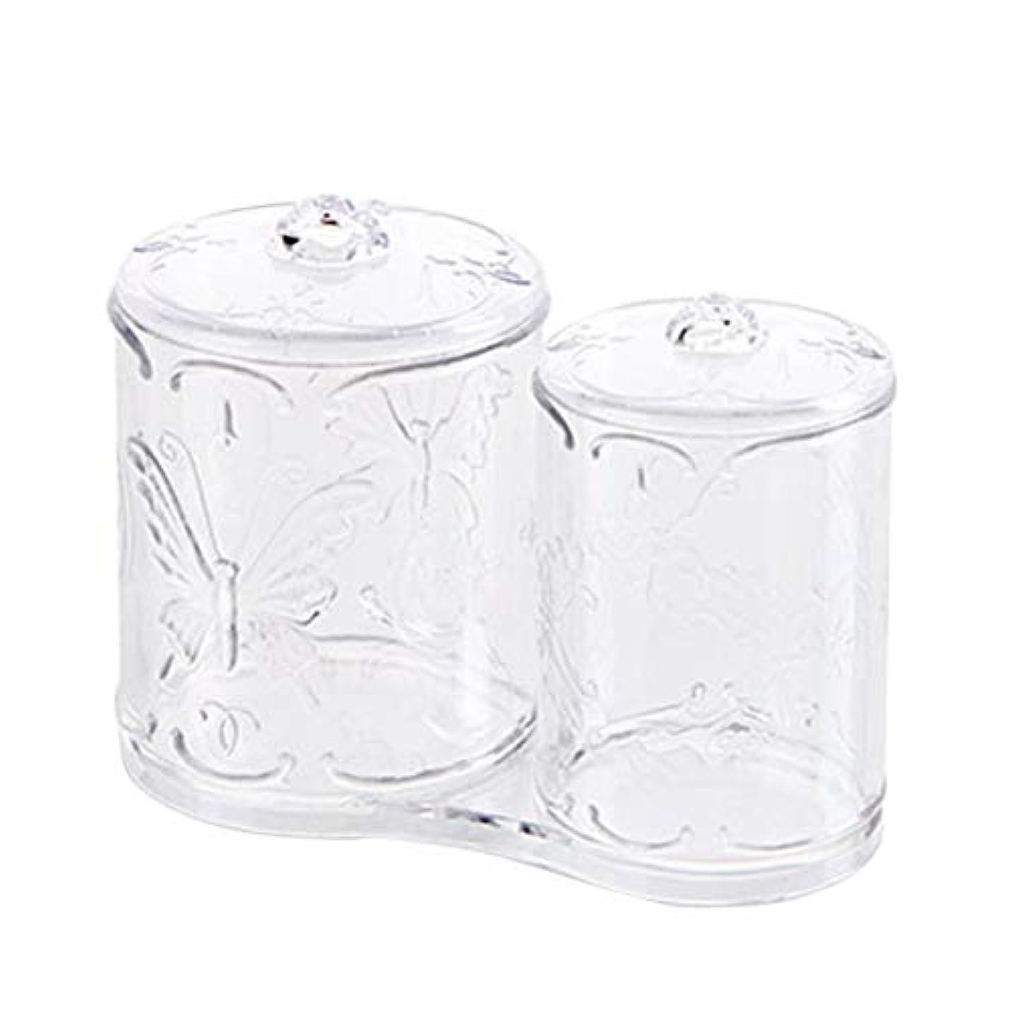 原始的な先行するデコードするOUNONA 綿棒ケース 綿棒ボックス コスメボックス プラスチック 2in1 コットン フタ付き メイクケース パフ 小物 コスメ 化粧品 ジュエリー アクセサリー 収納 多機能 防塵 透明 卓上 浴室