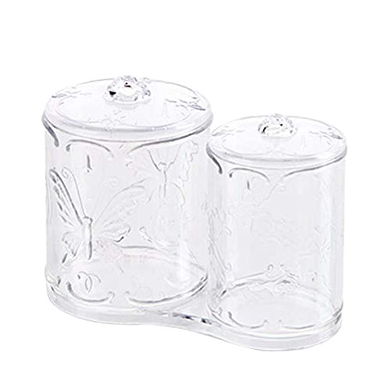 寄り添う静める憂鬱なOUNONA 綿棒ケース 綿棒ボックス コスメボックス プラスチック 2in1 コットン フタ付き メイクケース パフ 小物 コスメ 化粧品 ジュエリー アクセサリー 収納 多機能 防塵 透明 卓上 浴室