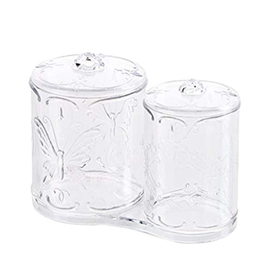 固めるなかなか賢いOUNONA 綿棒ケース 綿棒ボックス コスメボックス プラスチック 2in1 コットン フタ付き メイクケース パフ 小物 コスメ 化粧品 ジュエリー アクセサリー 収納 多機能 防塵 透明 卓上 浴室