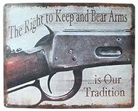 ◎ブリキ看板 プレート (丸角)【拳銃】(The Right to Keep and Bear Arms is Our Tradition) ティンパネル・ティンサイン