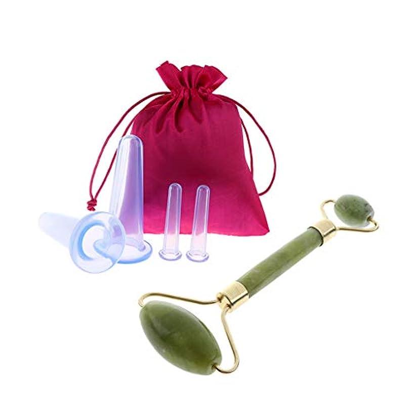 干し草葉巻治安判事dailymall 4個のシリコンアンチセルライトマッサージ真空カッピングカップセット+ヒスイローラー