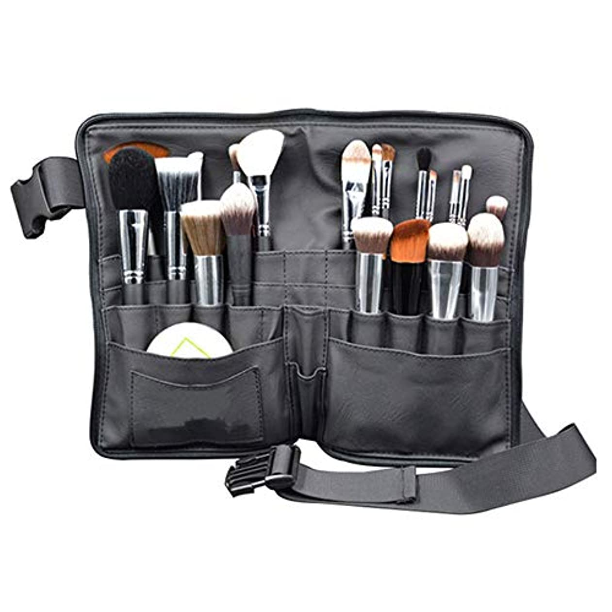 甘美な記者支払いメイクブラシバッグ Akane プロ 化粧師 専用 ウエストポーチ 超大容量 全収納 便利 防水 収納 舞台 ブラック 化粧バッグ