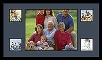 ArtToFramesコラージュフォトフレームダブルマットwith 5開口部とサテンブラックフレーム。 1-16x20&4-5x5 ブルー Double-Multimat-313-586/89-FRBW26079