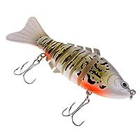 釣りルアー 多節 セクション ハード餌 ベイト ミノー 生き生きと作動 約10cm 15.6g 多色 - 銀色と黄色