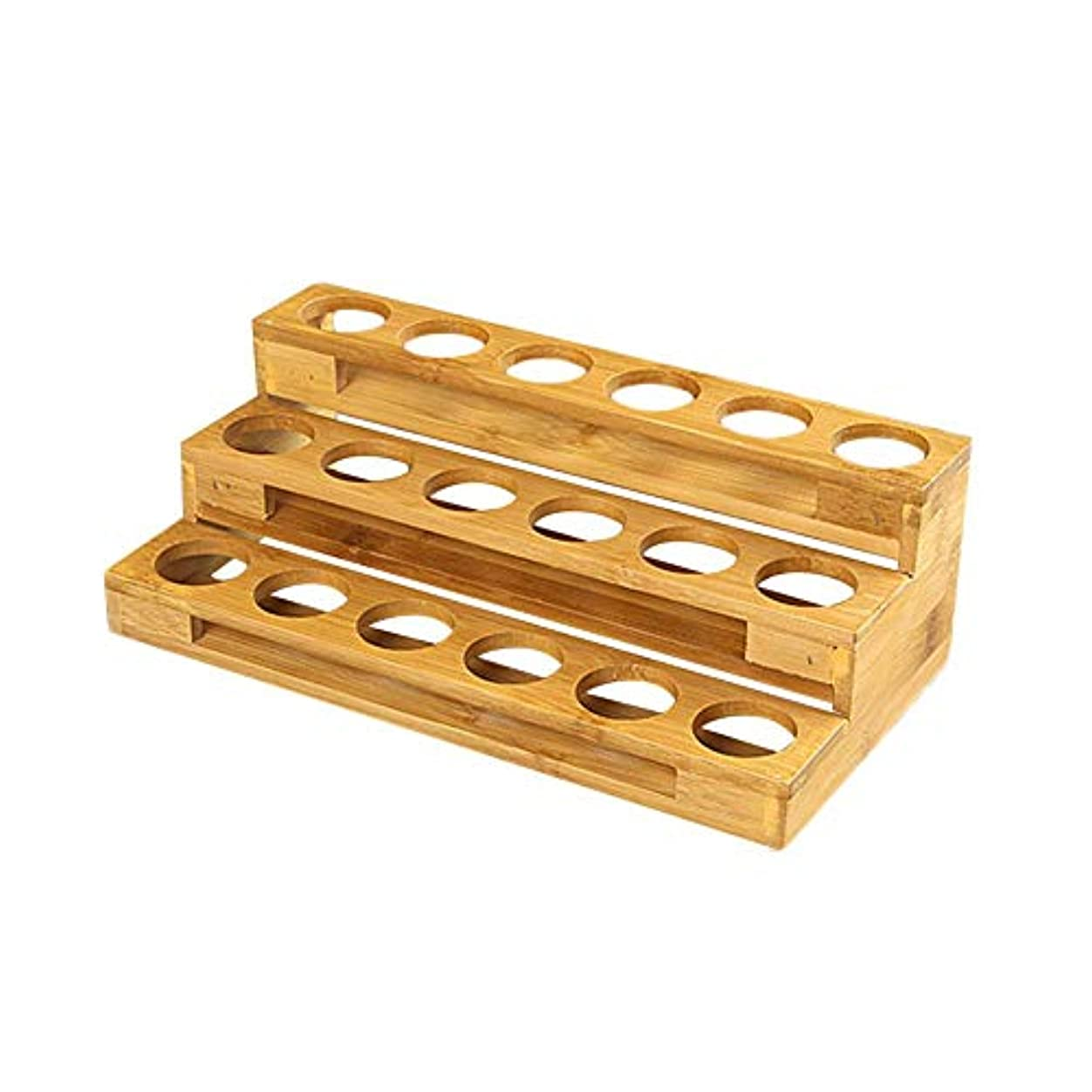 落花生流用する読者エッセンシャルオイル収納ボックス 自然木製 エッセンシャルオイルオイル 収納 ボックス 香水収納ケース はしごタイプ アロマオイル収納ボックス 18本用