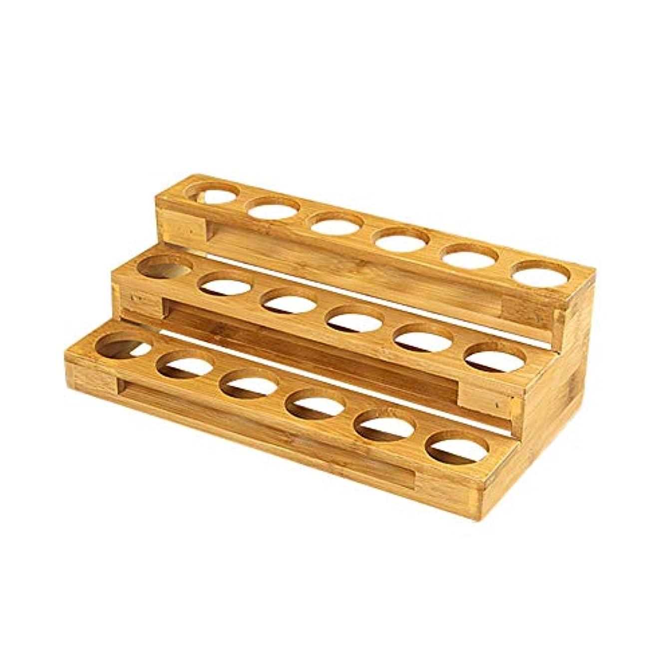ダンプ税金ラベルエッセンシャルオイル収納ボックス 自然木製 エッセンシャルオイルオイル 収納 ボックス 香水収納ケース はしごタイプ アロマオイル収納ボックス 18本用