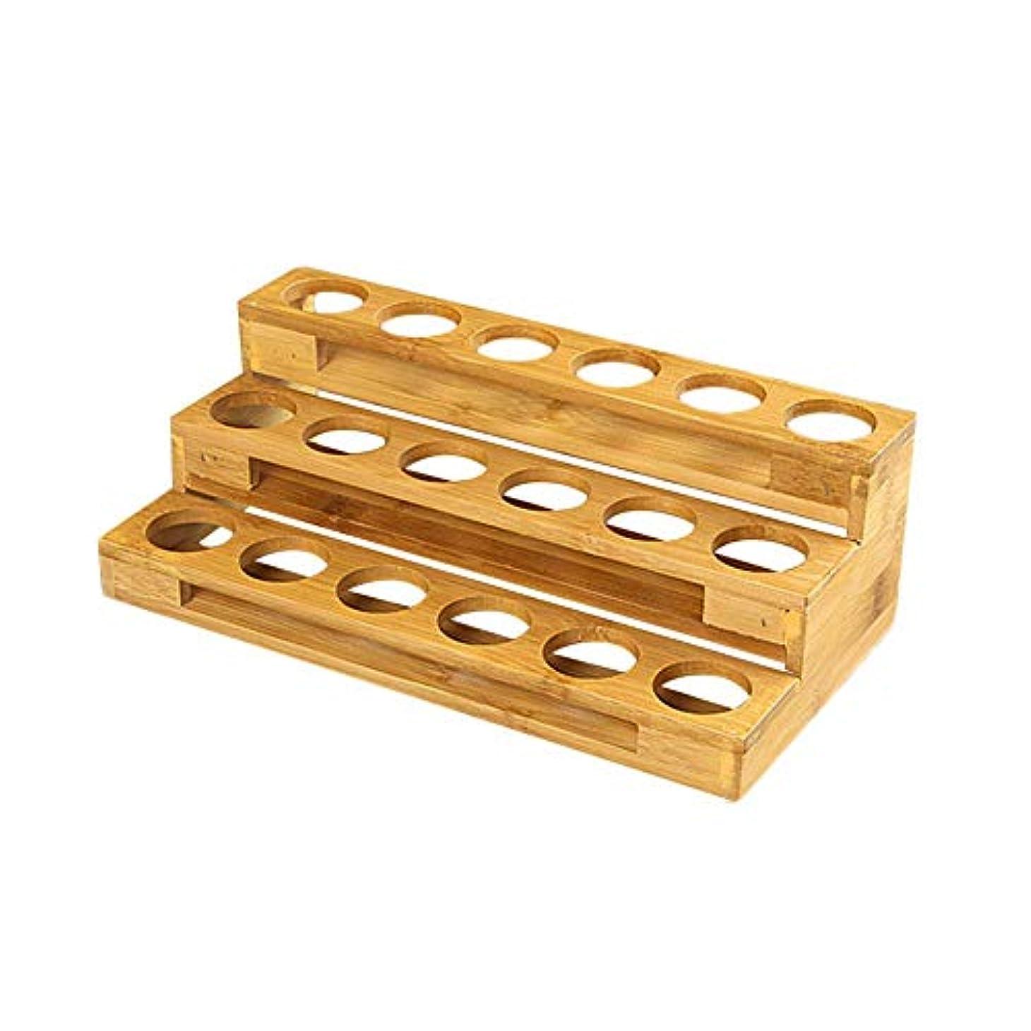 止まる欠員収益エッセンシャルオイル収納ボックス 自然木製 エッセンシャルオイルオイル 収納 ボックス 香水収納ケース はしごタイプ アロマオイル収納ボックス 18本用
