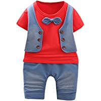 幼児子供赤ちゃん男の子衣装半袖Tシャツ+パンツ紳士服セット