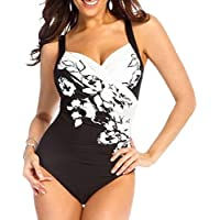Women Summer Backless Floral Draped V Neck One Piece Swimwear