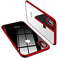TORRAS iPhone X 専用ケース TPU/背面クリア+メッキ加工/Qi充電対応 薄型 耐衝撃カバー(レッド) (2017)