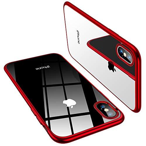 TORRAS iPhone Xs 専用ケース【高品質TPU/背面クリア+メッキ加工/Qi充電対応】薄型 耐衝撃カバー(レッド)