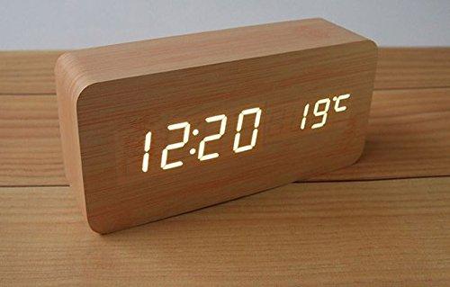 音感知で省エネ 木製 LED デジタル 目覚まし時計 USB対応 ライトブラウン